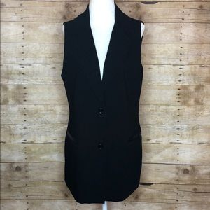 Bailey 44 vest blazer with leather detailing